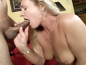 Cock sucking blonde cougar pussy pounded by younger stud
