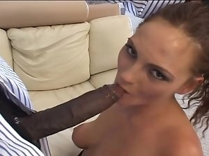 Brunette chick sucks and licks long black dick