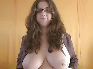 Big tit brunette chick in hot blowjob scene