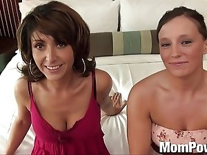 Hot MILF with younger friend threesome